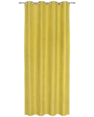 Závěs S Kroužky Nizza, 140/245cm, Žlutá