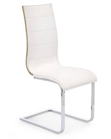 Halmar Jídelní židle K104, bílá/dub sonoma, eko kůže