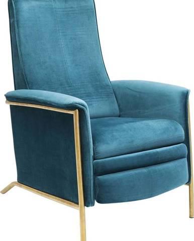 Tyrkysově modré sametové polohovací křeslo Kare Design Lazy