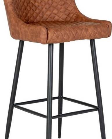 Hnědá barová židle s potahem z imitace kůže House Nordic Dallas