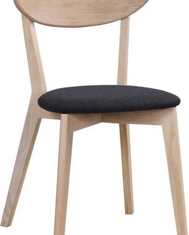 Hnědá dubová jídelní židle s tmavě šedým sedákem Rowico Amia