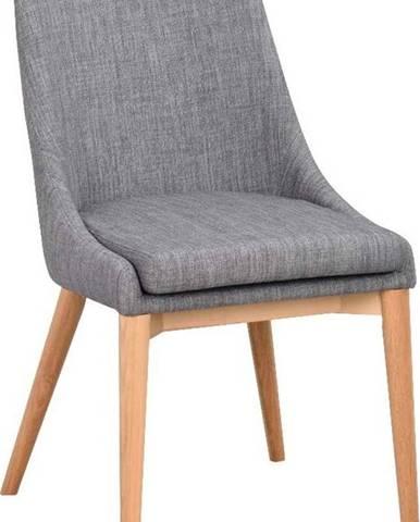 Šedá polstrovaná jídelní židle s hnědými nohami Rowico Bea