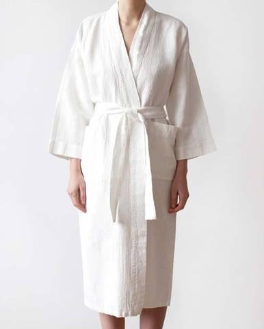 Unisex bílý župan z bavlny a lnu Linen Tales, vel. XL