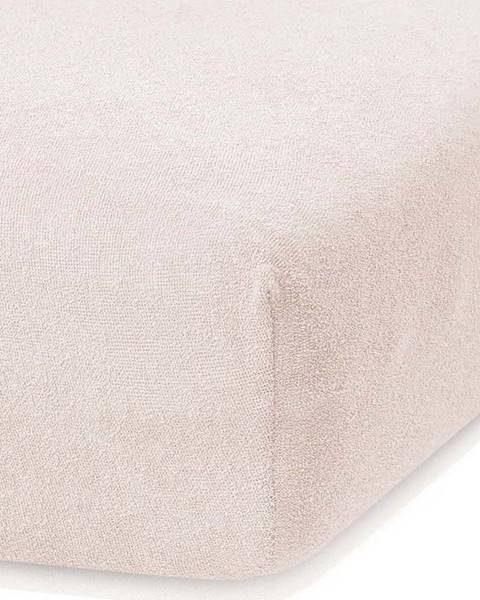 AmeliaHome Světle béžové elastické prostěradlo s vysokým podílem bavlny AmeliaHome Ruby, 120/140 x 200 cm