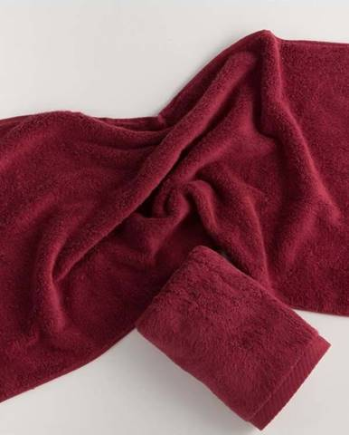 Tmavě červený bavlněný ručník El Delfin Lisa Coral, 50 x 100 cm