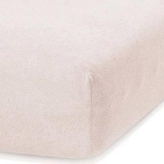 Světle béžové elastické prostěradlo s vysokým podílem bavlny AmeliaHome Ruby, 120/140 x 200 cm