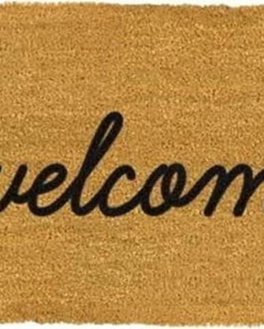Černá dlouhá rohožka z přírodního kokosového vlákna Artsy Doormats Welcome,120x40cm