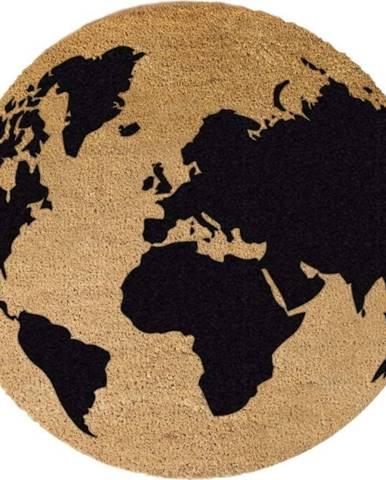 Černá kulatá rohožka z přírodního kokosového vlákna Artsy Doormats Gloge, ⌀70cm