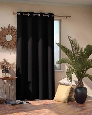 Černý zatemňovací závěs AmeliaHome Eyelets Black, 140 x 245 cm
