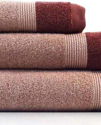 Sada 3 červených bavlněných ručníků Ethere Banda Vino