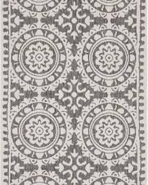 Bougari Šedo-krémový venkovní koberec Bougari Jardin, 80 x 250 cm
