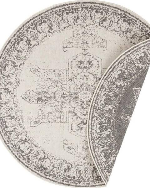 Bougari Šedo-krémový venkovní koberec Bougari Borbon, ø 140 cm