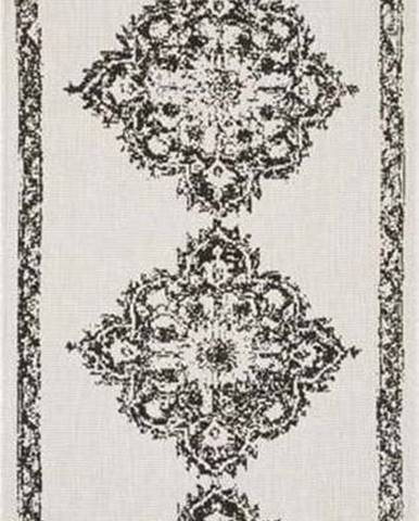 Černo-krémový venkovní koberec Bougari Cofete, 80 x 350 cm
