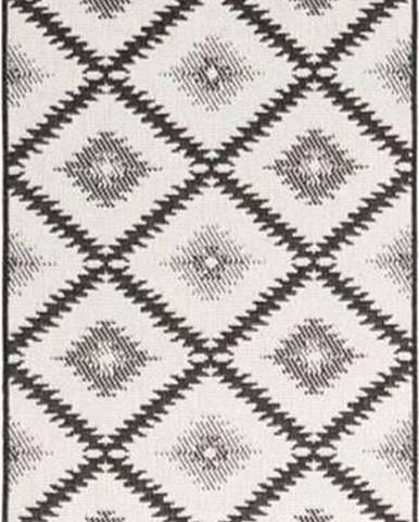 Černo-krémový venkovní koberec Bougari Malibu, 80 x 350 cm