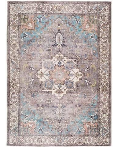 Modro-hnědý koberec s podílem bavlny Universal Haria, 80 x 150 cm