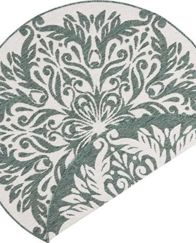 Zeleno-krémový venkovní koberec Bougari Madrid, ⌀ 140 cm