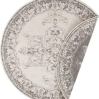 Šedo-krémový venkovní koberec Bougari Borbon, ø 140 cm
