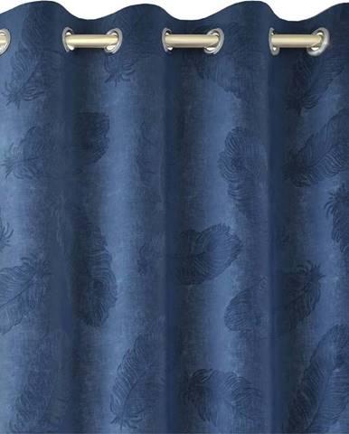 Modrý závěs se sametovým povrchem AmeliaHome Peacock,140x250cm
