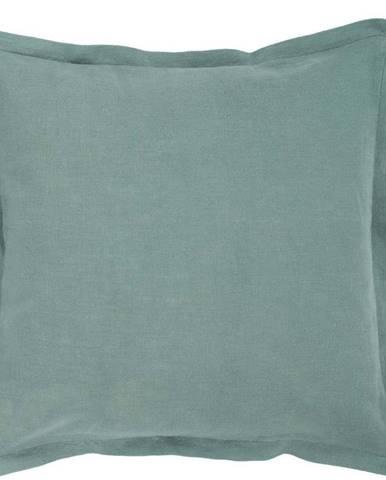Zelený polštář s příměsí lnu Tiseco Home Studio, 45 x 45 cm