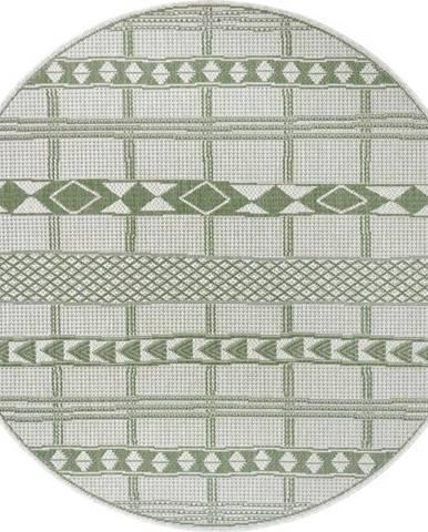 Zeleno-béžový venkovní koberec Ragami Madrid, ø 120 cm