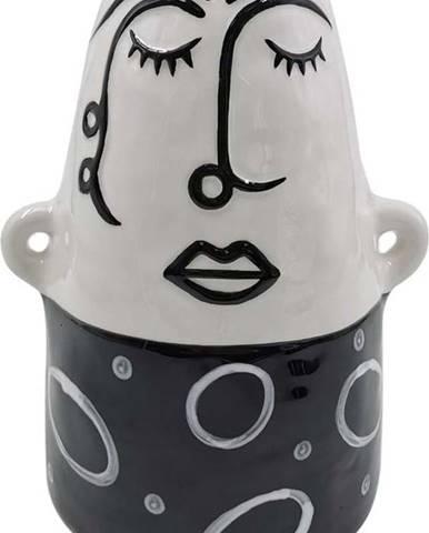 Černo-bílá porcelánová váza Mauro Ferretti Thinking Face