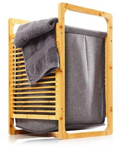 Blumfeldt Koš na prádlo, bambus, pevná bavlna, jednoduchá montáž