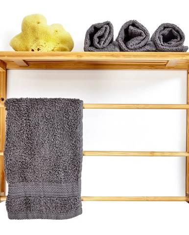 Blumfeldt Nástěnný regál do koupelny, 3 tyče na ručníky, odkládací plocha nahoře, 42 x 30 x 20 cm, bambus