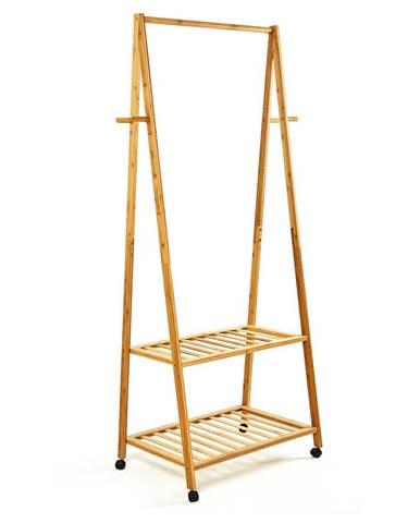 Blumfeldt Věšák na oblečení, na kolečkách, 2 odkládací plochy, 60x162x42,5cm, 100% bambus