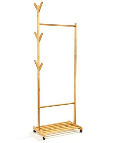 Blumfeldt Věšák na oblečení s odkládací plochou, 57,5x173cm, symetrický design, bambus