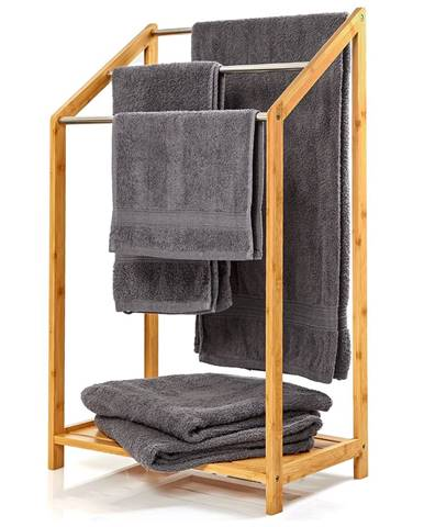 Blumfeldt Věšák na ručníky, 3 kovové tyčky na ručníky, 51 x 86 x 31cm, stupňový design, bambus