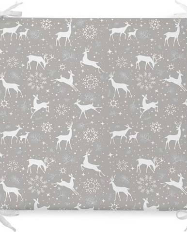 Vánoční podsedák s příměsí bavlny Minimalist Cushion Covers Snowflakes and Deer,42x42cm
