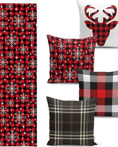 Sada 4 vánočních povlaků na polštář a běhounu na stůl Minimalist Cushion Covers Snowflake