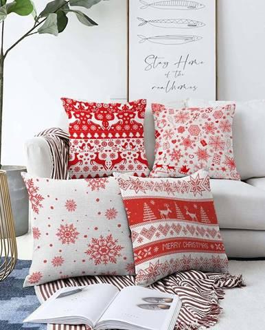 Sada 4 vánočních žinylkových povlaků na polštář Minimalist Cushion Covers Red Snowflakes,55x55cm