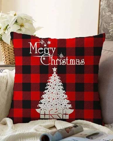 Vánoční žinylkový povlak na polštář Minimalist Cushion Covers Christmas Tartan,55x55cm