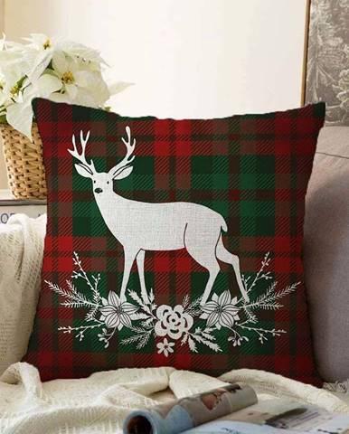 Vánoční žinylkový povlak na polštář Minimalist Cushion Covers Tartan Merry Christmas,55x55cm
