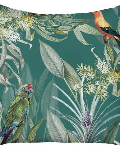Zelený povlak na polštář Mike & Co. NEW YORK Jungle Birds,43x43cm