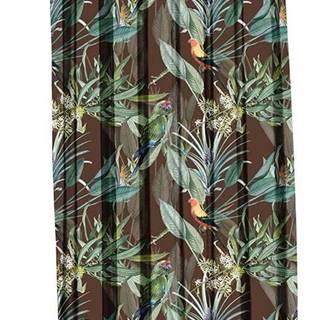 Hnědý závěs Mike & Co. NEW YORK Jungle Birds,140x270cm