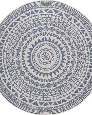 Modro-krémový venkovní koberec Bougari Coron, ø 200 cm