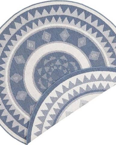 Modro-krémový venkovní koberec Bougari Jamaica, ⌀ 140 cm