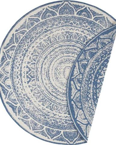 Modro-krémový venkovní koberec Bougari Siruma, ø 140 cm