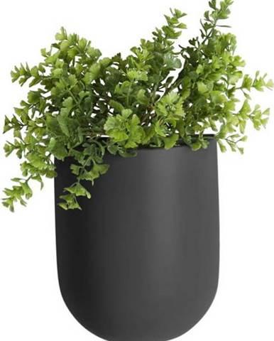 Matně černý nástěnný keramický květináč PT LIVING Oval