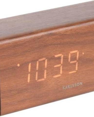 Budík v dřevěném dekoru Karlsson Cube, 16 x 7,2 cm