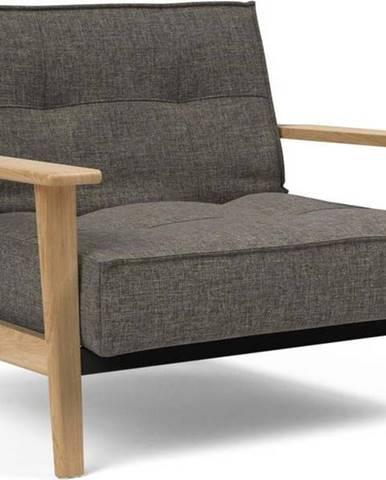 Tmavě šedé rozkládací křeslo s dřevěnými područkami Innovation Splitback