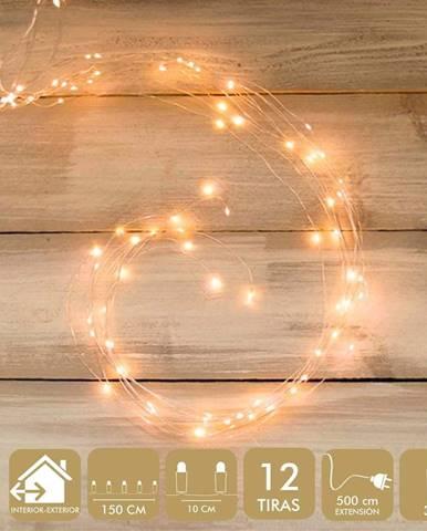 Světelný micro-LED řetěz ve zlaté barvě Unimasa Metal, 354 světýlek