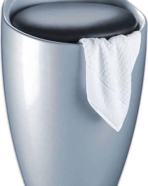 WENKO Koš na prádlo a taburetka v jednom ve stříbrné barvě Wenko Candy, 20 l