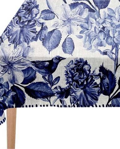 Bílo-modrý ubrus Linen Couture Blue Birds
