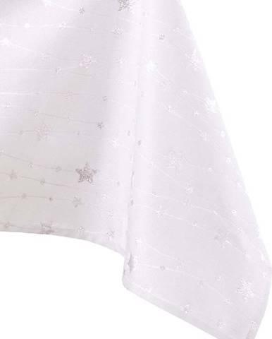 Vánoční ubrus v bílo-stříbrné barvě AmeliaHome Stardust, 200 x 140 cm