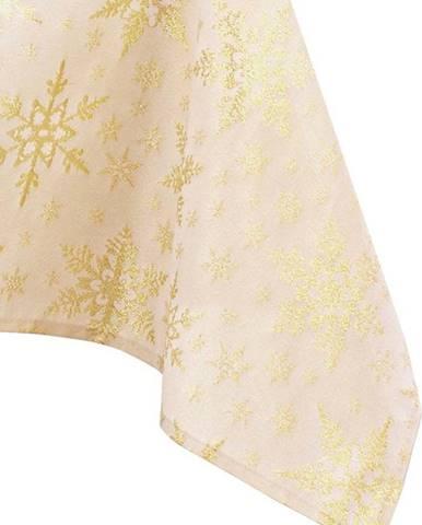 Vánoční ubrus ve zlaté barvě AmeliaHome White Christmas, 180 x 140 cm
