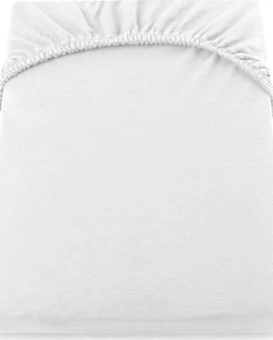 Bílé elastické džersejové prostěradlo DecoKing Amber Collection, 220/240 x 220 cm