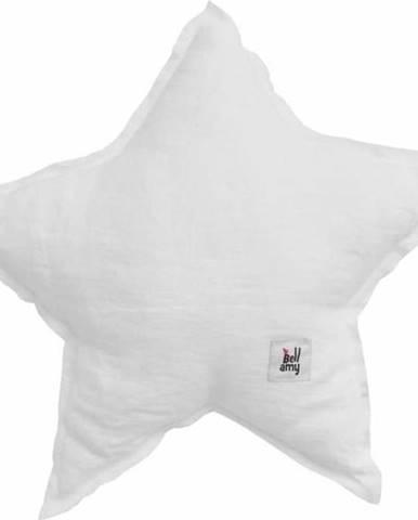Bílý dětský lněný polštář ve tvaru hvězdy BELLAMY Snow White